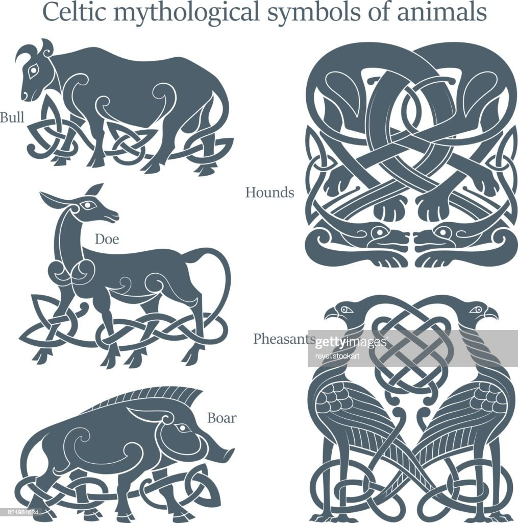Ancient celtic mythological symbol animals set