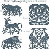 Ancient celtic mythological symbol animals set