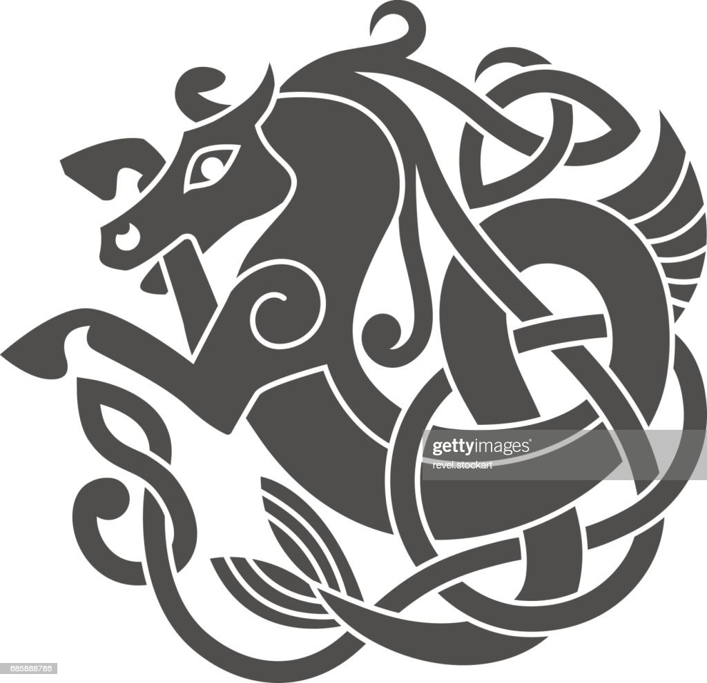 Ancient celtic mythological symbol of sea horse.
