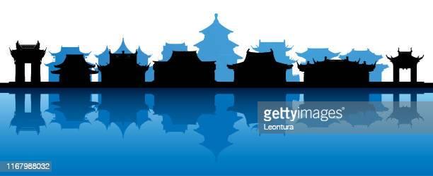 stockillustraties, clipart, cartoons en iconen met het oude china (alle gebouwen zijn compleet en beweegbaar) - zhejiang provincie