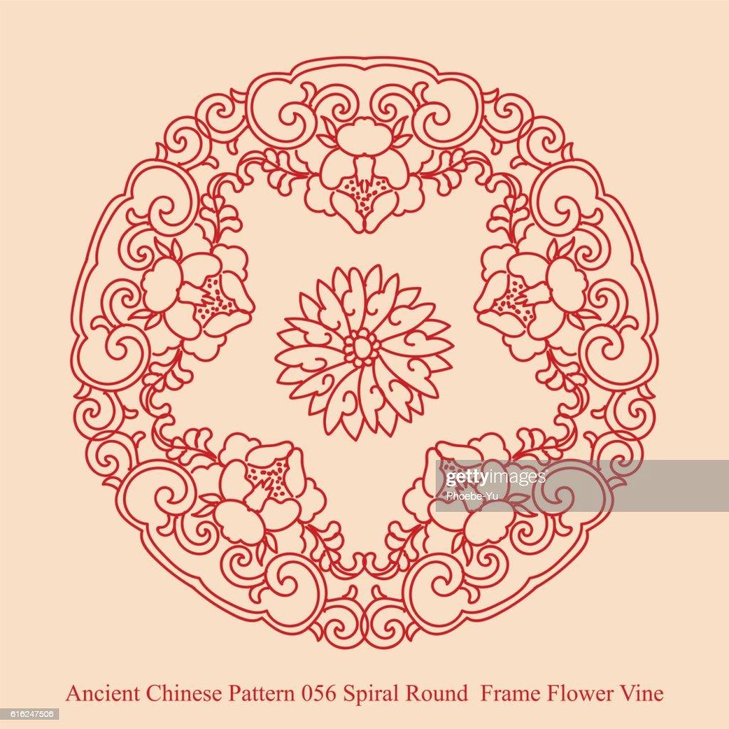 Ancient Chinese Pattern_056 Spiral Round  Frame Flower Vine : Arte vetorial