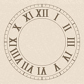 Ancient clock face with roman numerals. On beige background