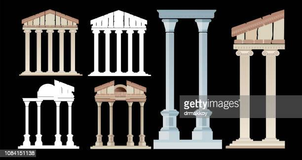 ancient column and ancient city - ancient stock illustrations