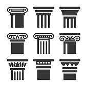 Ancient Columns Icon Set on White Background. Vector