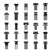 Ancient columns icons set, simple style