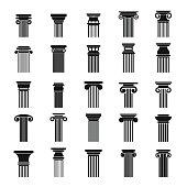 Ancient columns icons set, simple style