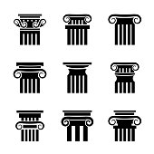 Ancient columns vector icons