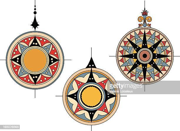 古代コンパスローズ - 円形方位図点のイラスト素材/クリップアート素材/マンガ素材/アイコン素材