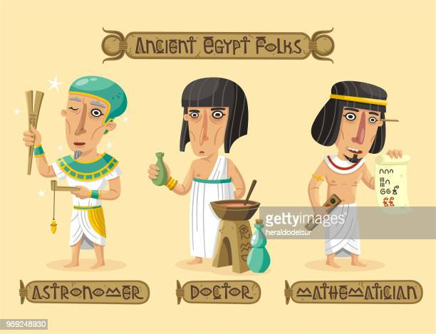 ancient egypt characters set - papyrus paper stock illustrations