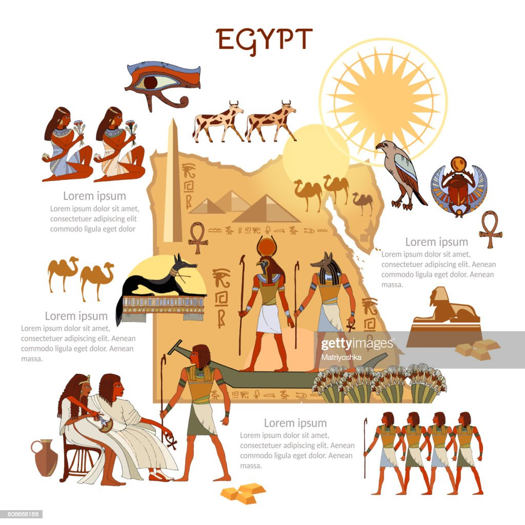 Ancient Egypt infographics. sights, culture. Egyptian gods and pharaoh traditions, map, people. Ancient Egypt template elements