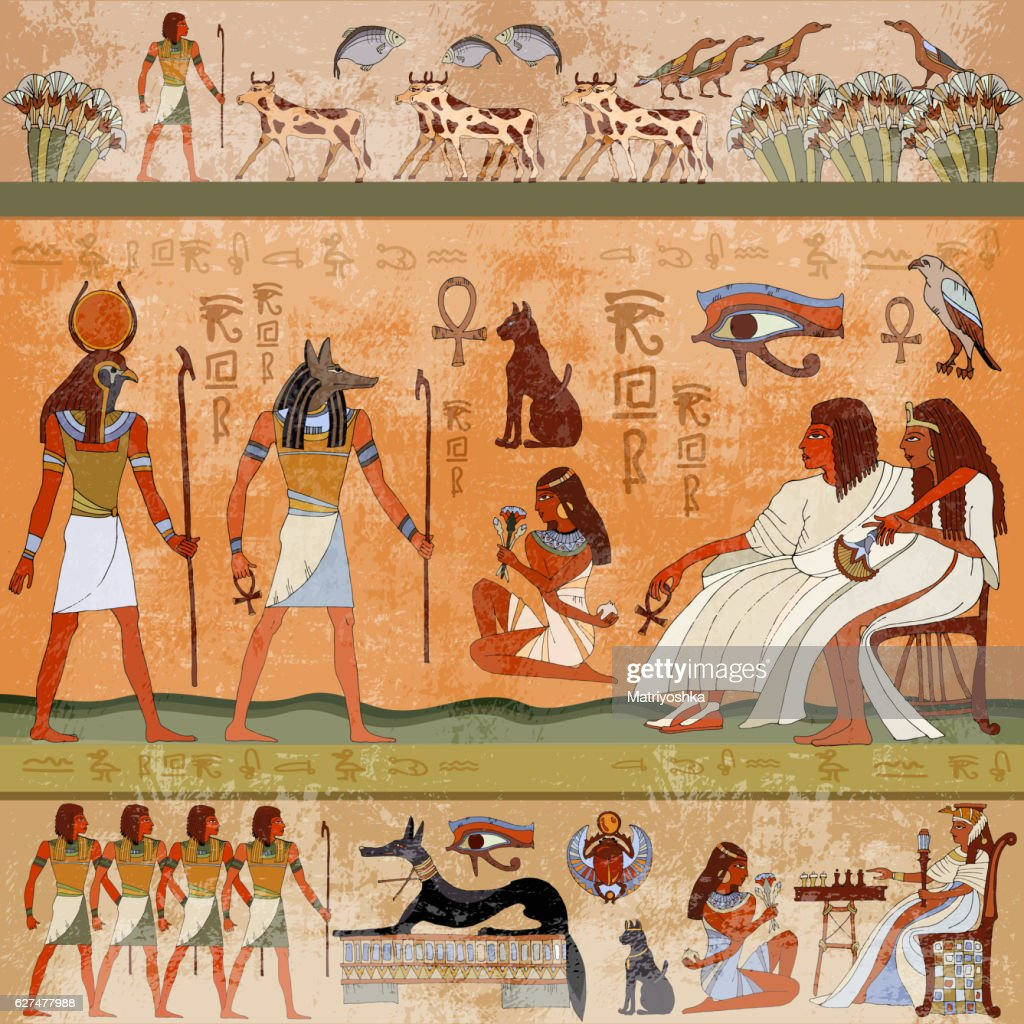 Ancient egypt scene. Murals ancient Egypt.