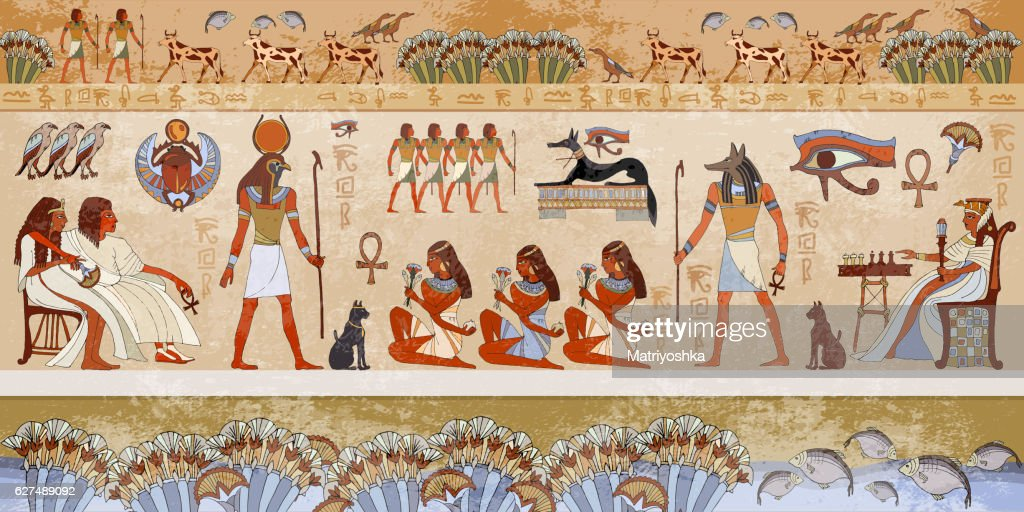 Ancient egypt scene. Murals ancient Egypt.