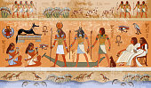 Ancient Egypt scene, mythology. Egyptian gods and pharaohs