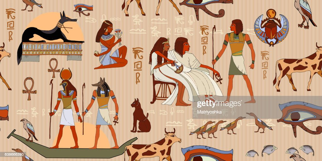 Ancient Egypt seamless pattern