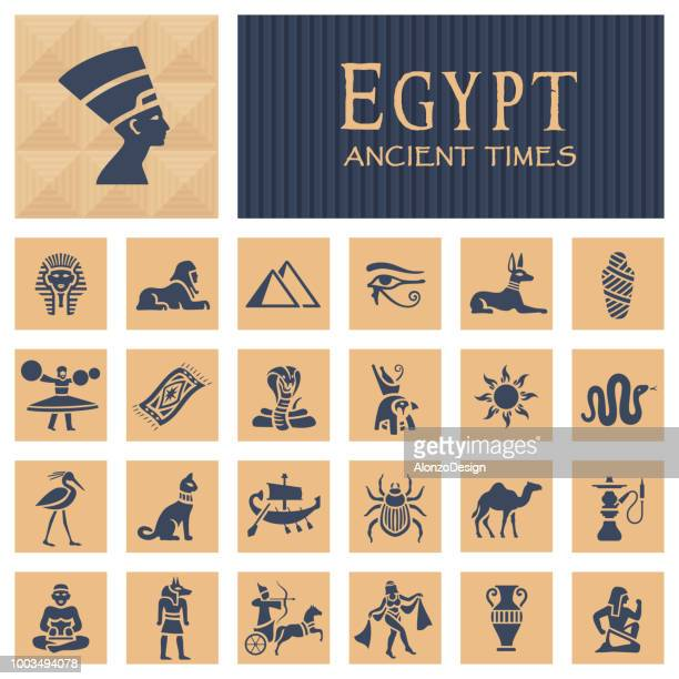 ancient egyptian icons - egypt stock illustrations