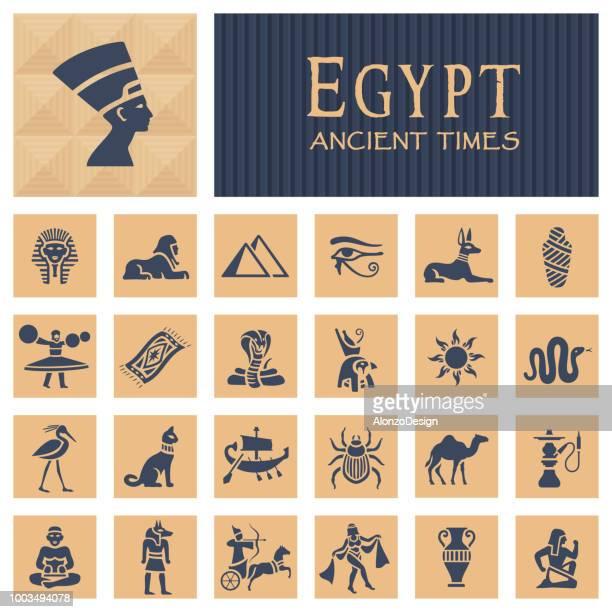 ilustraciones, imágenes clip art, dibujos animados e iconos de stock de iconos egipcios antiguos - cobra