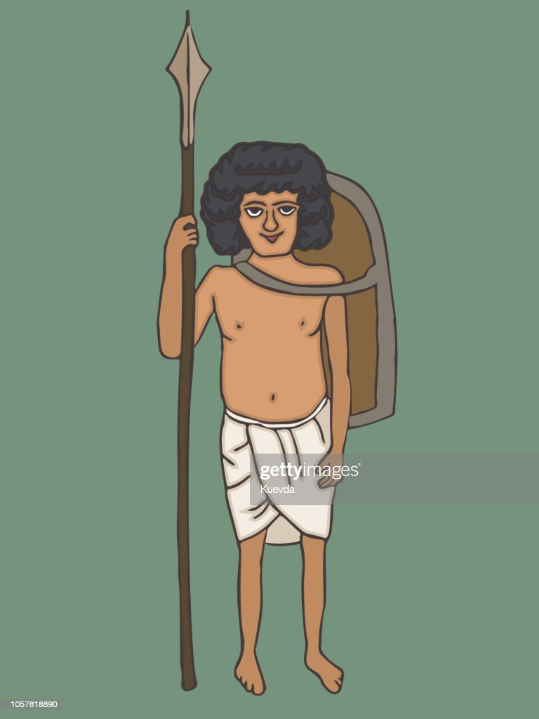 ancient egyptian soldier of old kingdom vector cartoon
