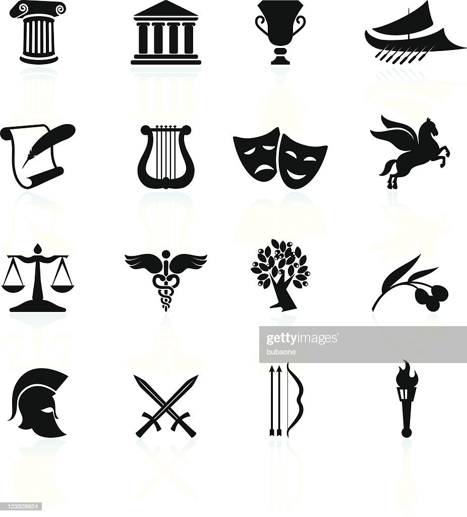 Ancient Greece black and white royalty free vector icon set : stock illustration