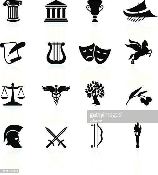 ancient greece black and white royalty free vector icon set - greek culture stock illustrations, clip art, cartoons, & icons