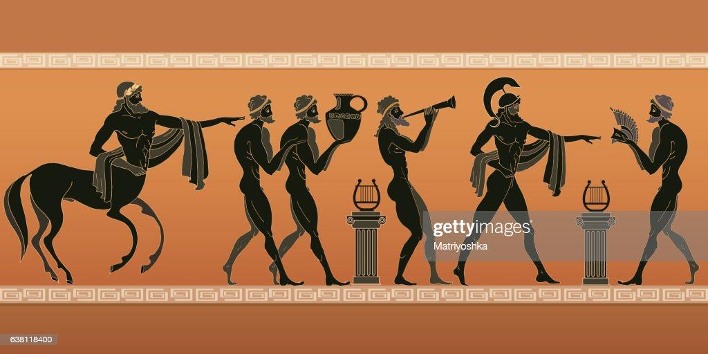 Ancient Greece. Black figure pottery.