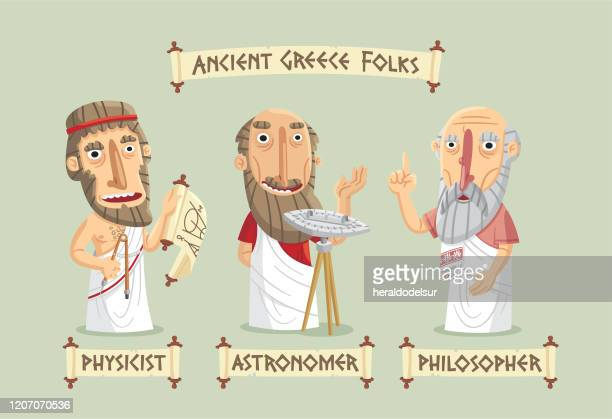 ancient greece characters set - philosophy stock illustrations