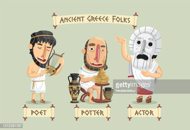 ancient greece characters set - actor stock illustrations