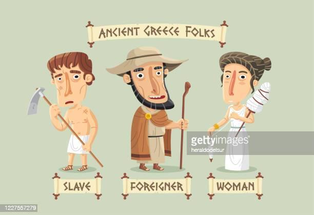 ilustrações, clipart, desenhos animados e ícones de personagens da grécia antiga definidos - cultura grega