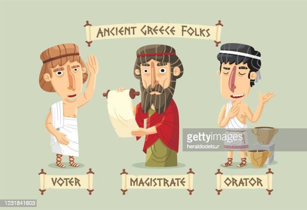 ilustraciones, imágenes clip art, dibujos animados e iconos de stock de personajes de la antigua grecia establecidos - democracia