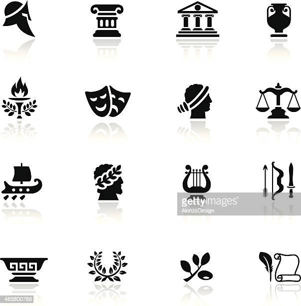 ancient greece icon set - olive branch stock illustrations