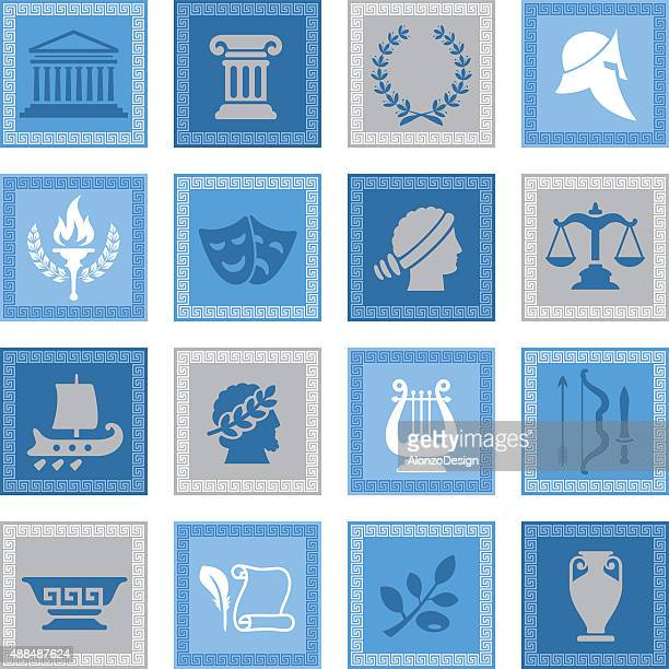 ancient greece icon set - greece stock illustrations