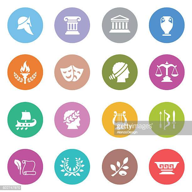 ancient greece icon set - greek culture stock illustrations, clip art, cartoons, & icons
