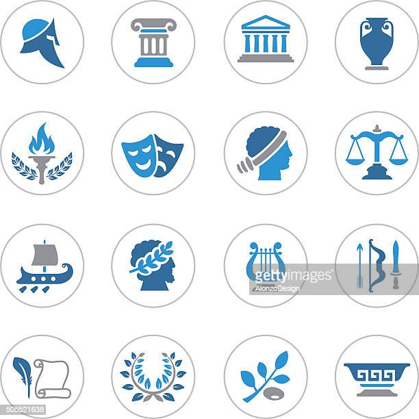 ancient greece icons - greece stock illustrations