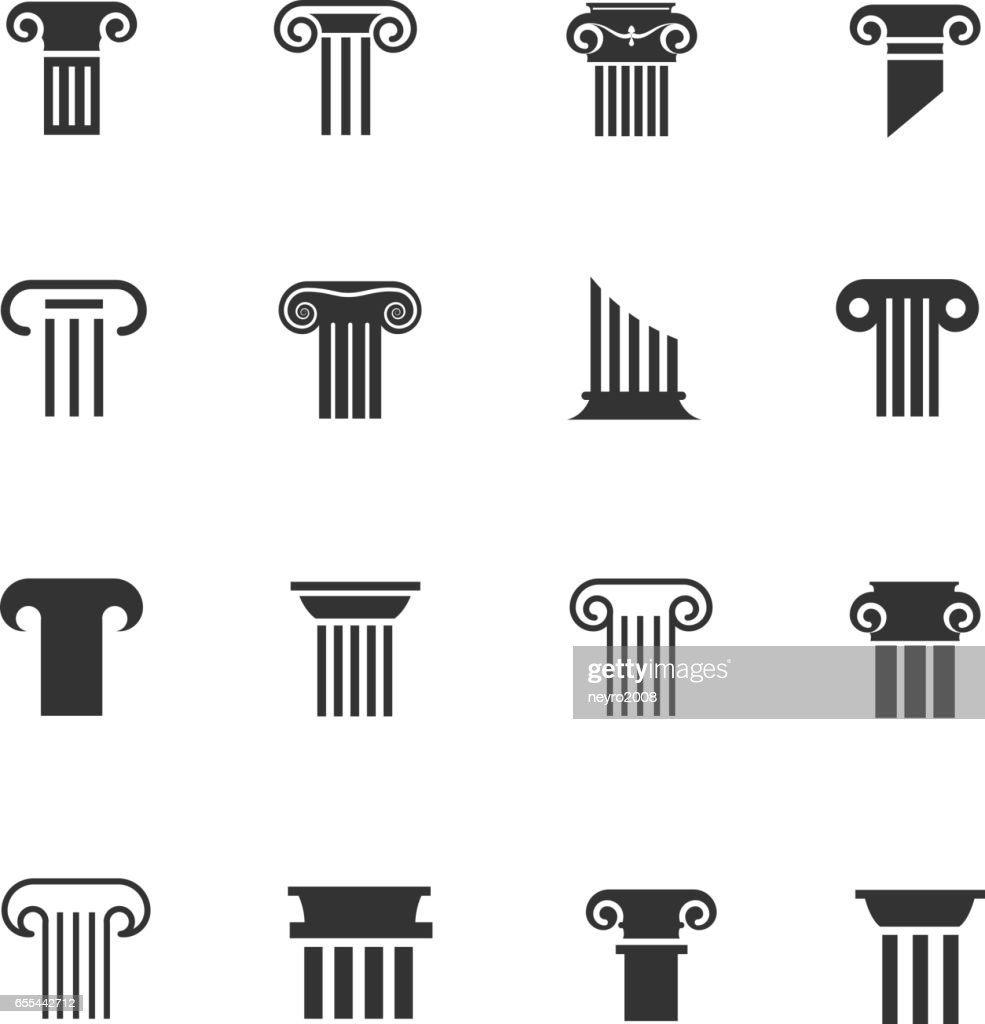 Ancient greek and roman column icons. Architectural pillar vector black white signs