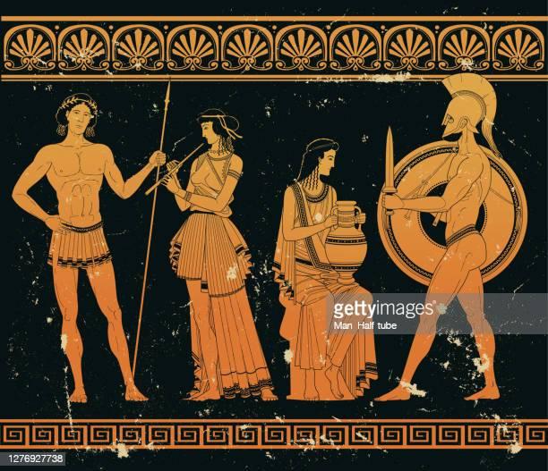 illustrazioni stock, clip art, cartoni animati e icone di tendenza di arte greca antica - mitologia greca