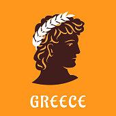 Ancient greek athlete in winner olive wreath