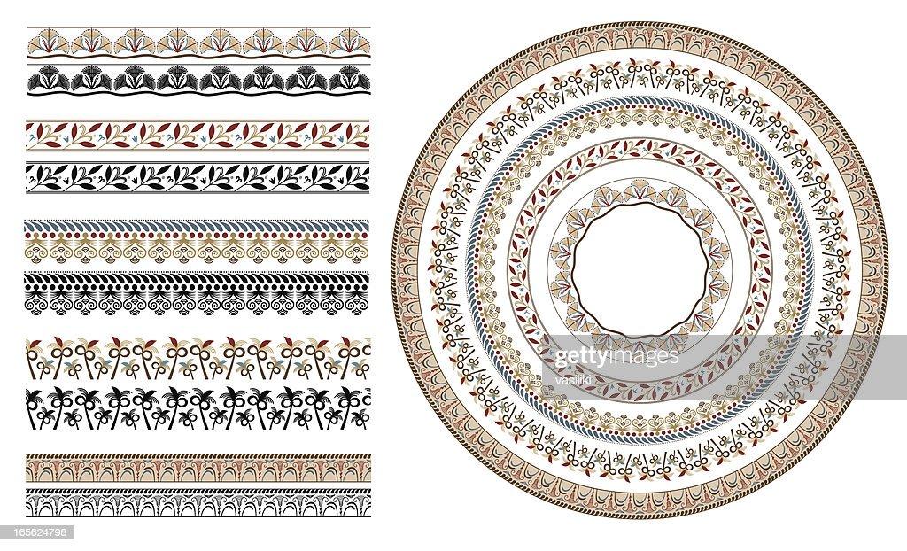 Ancient greek floral seamless patterns : stock illustration