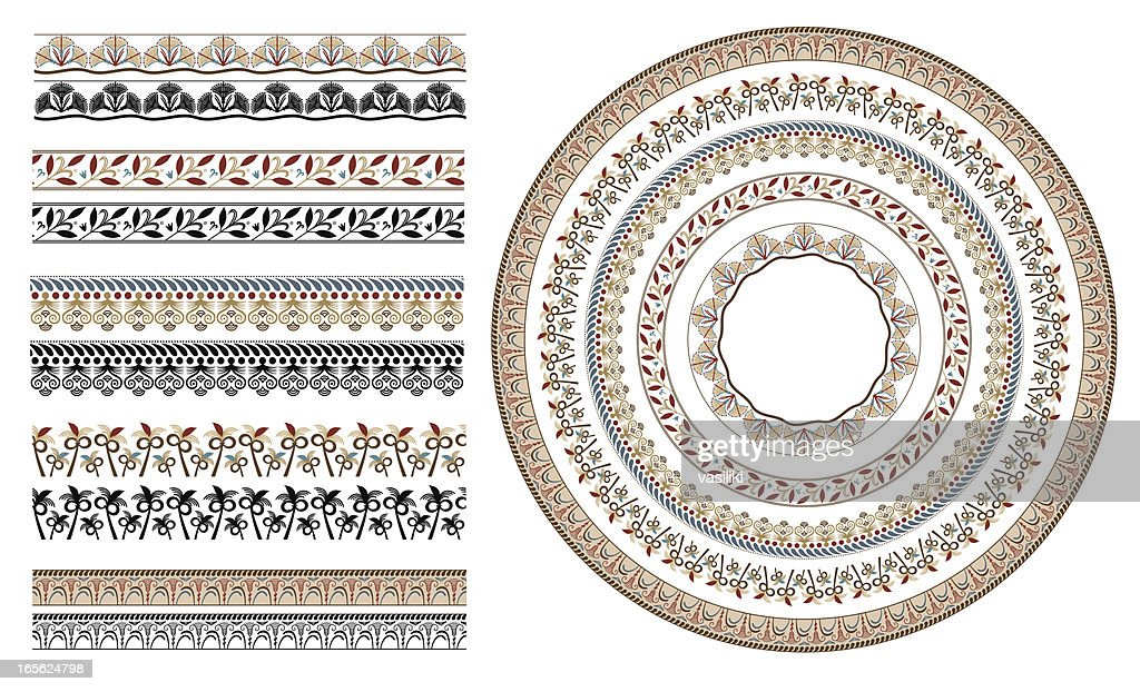 Ancient greek floral seamless patterns