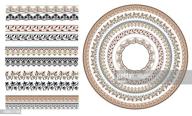ancient greek floral seamless patterns - classical greek style stock illustrations