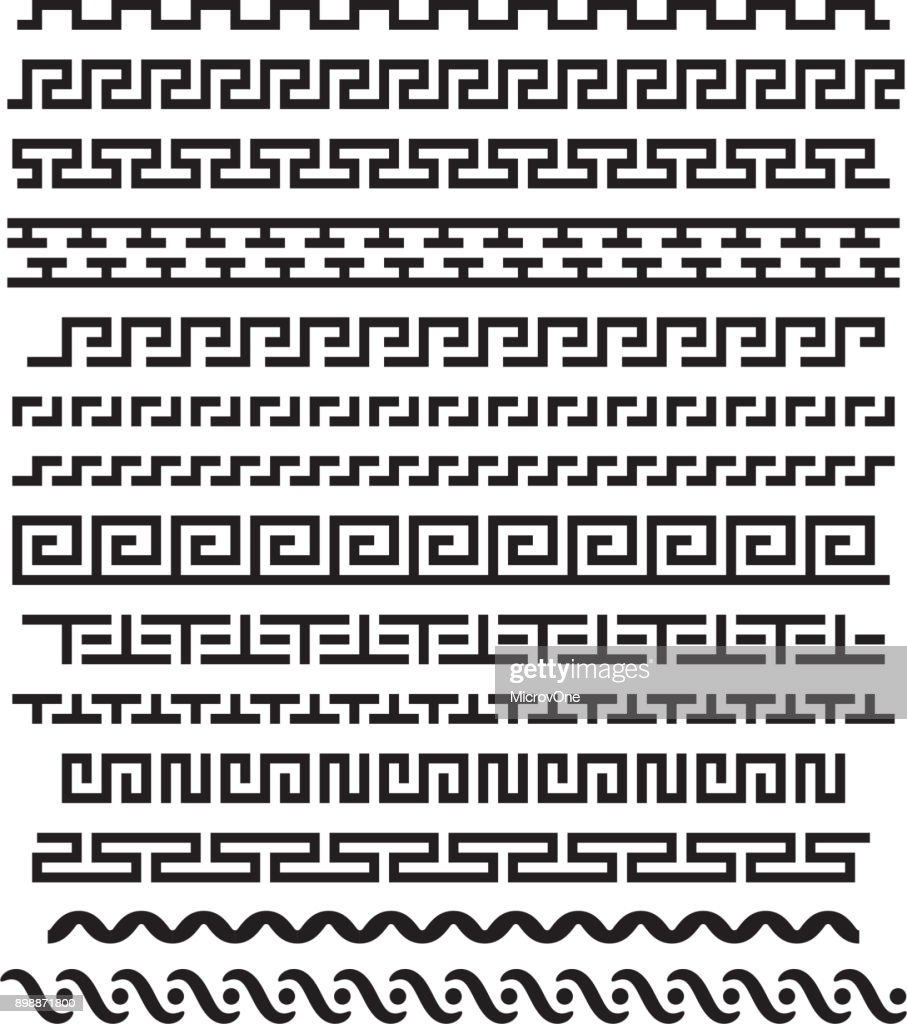 Ancient greek ornament. Vector seamless horizontal borders