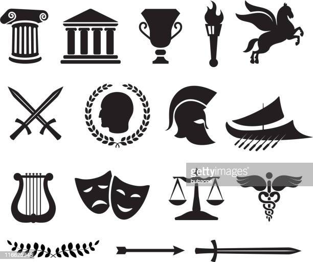 ancient greek royalty free vector illustration - greek culture stock illustrations, clip art, cartoons, & icons