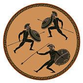 Ancient Greek soldiers. Black figure pottery