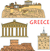 Ancient greek travel landmarks thin line icons