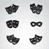 Ancient greek, venice mask icon set. Vector art.