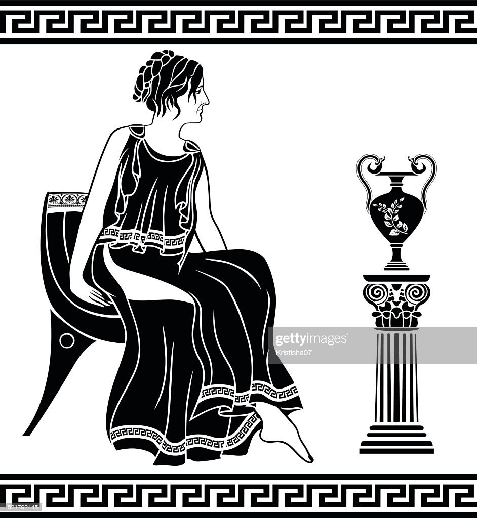 Ancient Greek woman sitting on a chair