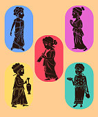 ancient greek women silhouettes