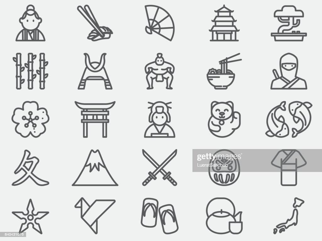 Ícones de linha do Japão antigo : Ilustração