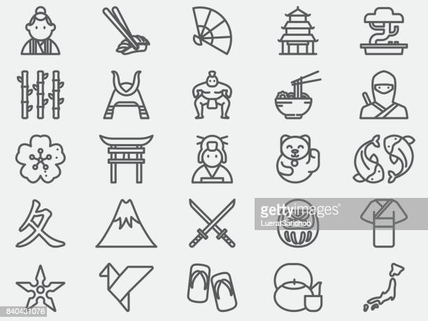 ancient japan line icons - traditional clothing stock illustrations