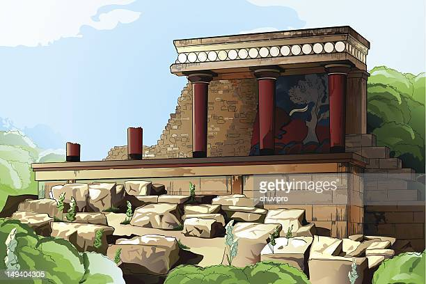 ancient knossos palace. - greek islands stock illustrations, clip art, cartoons, & icons