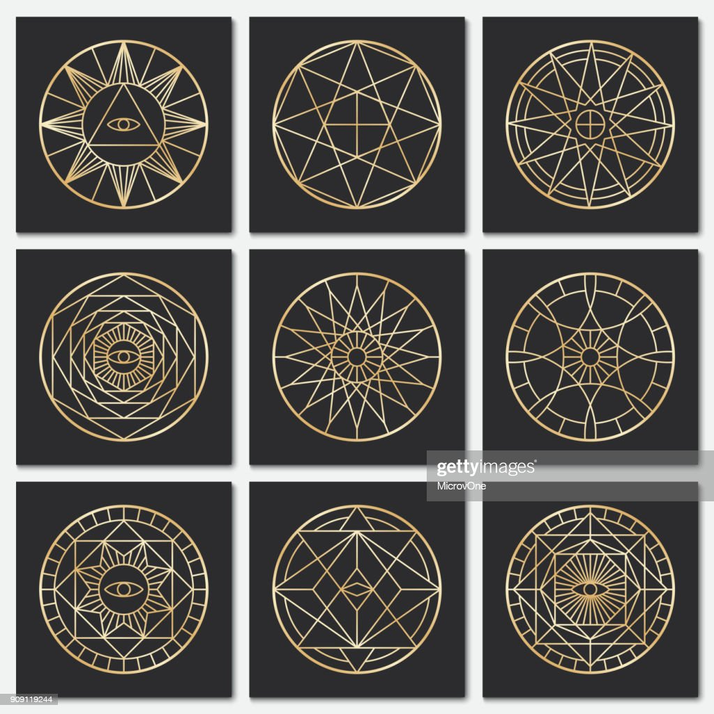 Ancient masonic pentagrams. Steampunk gold sacred vector symbols on dark backgrounds