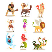 Ancient mythical creatures set, Cyclops, Centaur, Unicorn, Satyr Faun, Medusa Gorgon, Three headed dragon, Mermaid, Winged Lion vector Illustrations on a white background